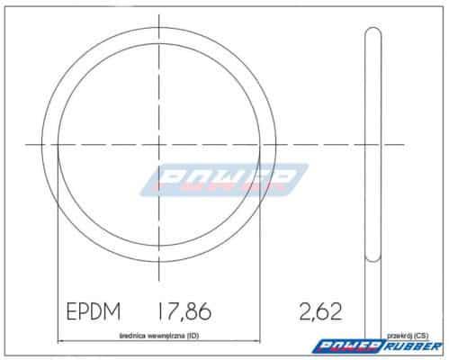 Oring 17,86 na 2,62 EPDM wykonany z EPDM