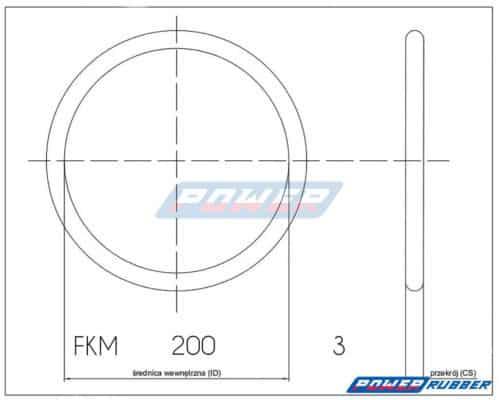 Oring 200 na 3 FKM wykonany z FKM