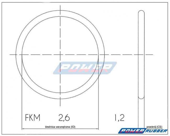Oring 2,6 na 1,2 FKM wykonany z FKM