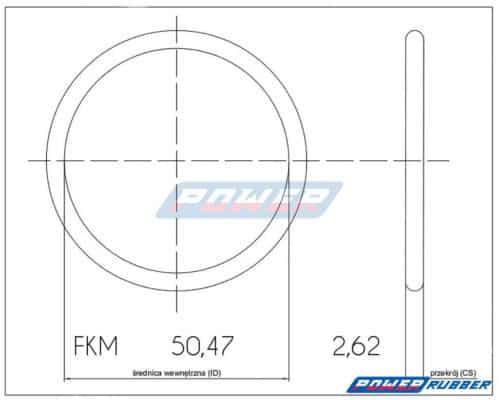 Oring 50,47 na 2,62 FKM wykonany z FKM