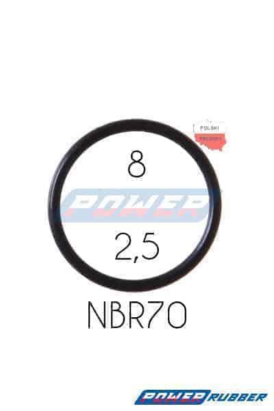 Oring 8 na 2,5 NBR wykonany z NBR