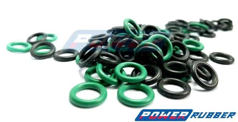 oringi gumowe zielone i czarne
